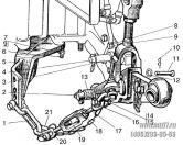 Подгруппа 4605. Наружная блокировка нижних тяг (для тракторов с силовым регулятором и без силового регулятора)